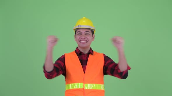 Thumbnail for Happy Young Multi Ethnic Man Construction Worker Getting Good News
