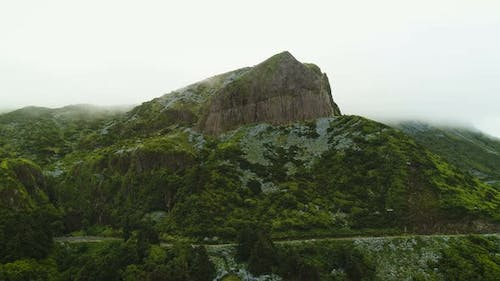 Aerial Of Huge Mountain Cliff In Azores