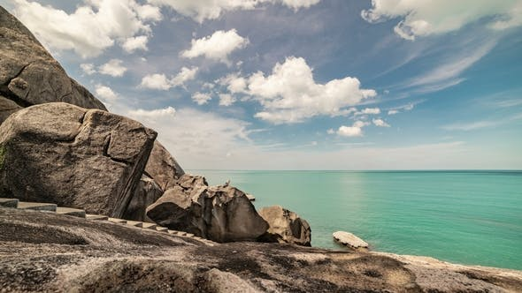 Thumbnail for Clouds Over Beautiful Rocky Coast and Sea in Samui, Thailand