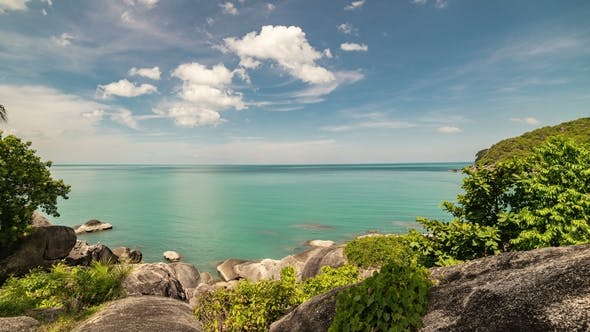 Cover Image for Beautiful Rocky Beach and Sea Landscape in Samui, Thailand.