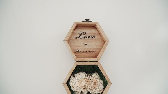 Thumbnail for Wedding Rings in a Wooden Box Filled with Moss on the Green Grass. Wedding. Wedding Ring. Vintage
