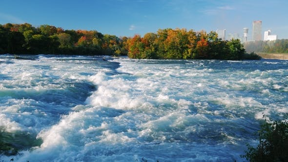 Thumbnail for Turbulent Niagara River Before the Waterfall. On a Clear Autumn Day