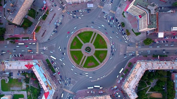 Aerial Shot of Busy Roundabout During Rush Hour in Novosibirsk