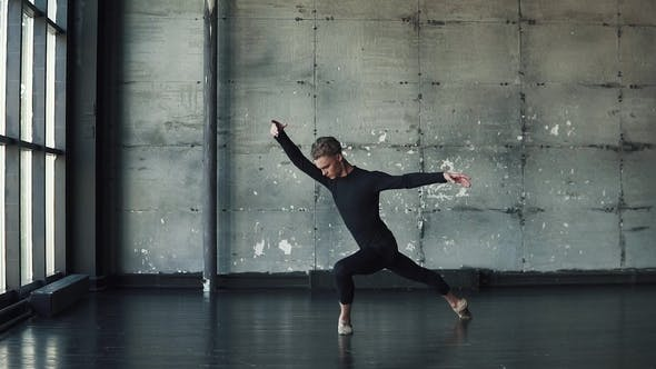 Portrait of a Male Ballet Dancer, Who Gracefully and Gracefully Dances.