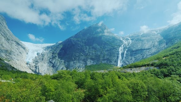 Thumbnail for Epic View of the Mountains and the Briksdal Glacier. Pan Shot