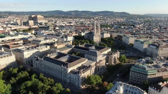 Aerial view of Vienna University, Austria, Europe