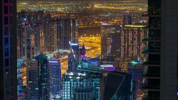 Thumbnail for Dubai Marina Night Highway Traffic