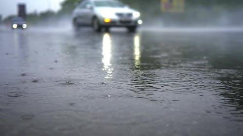 Rain Traffic Urban Lights Reflection City Drops Nature