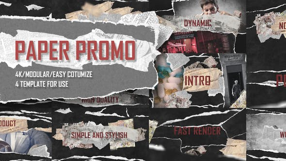 Thumbnail for Paper Promo/ Stomp Typography/ Torn Newspaper Promotion/ Social Presentation Intro/ Drum Beat Rhythm