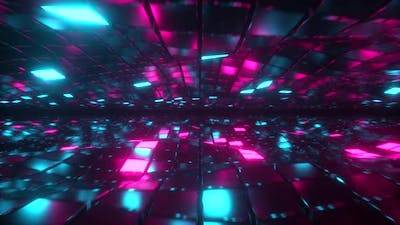 Flying in Endless Space of Neon and Metal Cubes