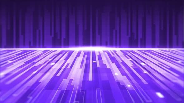 Animation einer Gruppe von violetten parallelen Lichtspuren