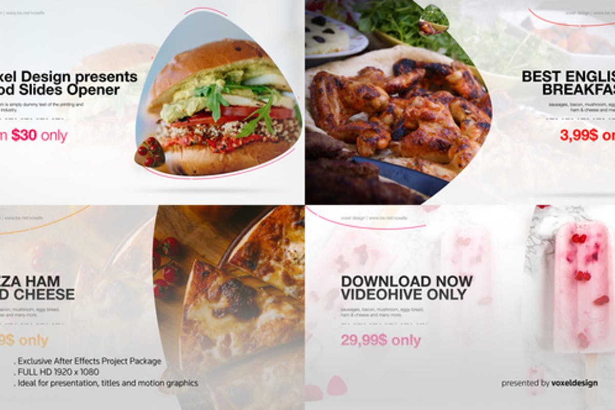 """23 """"food"""" Openers Video Templates Compatible with Adobe After Effects"""