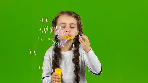 Thumbnail for Child with Soap Bubbles. Green Screen