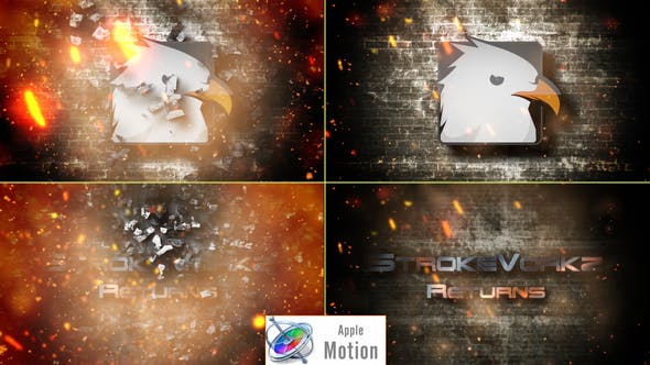 Thumbnail for Cinematic Fire Impact Logo - Apple Motion