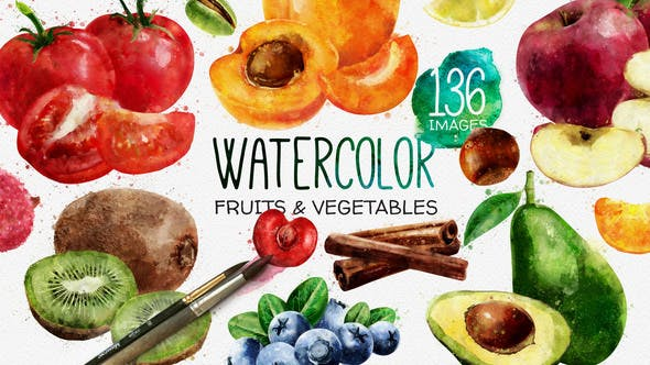 Thumbnail for Watercolor Fruits And Vegetables