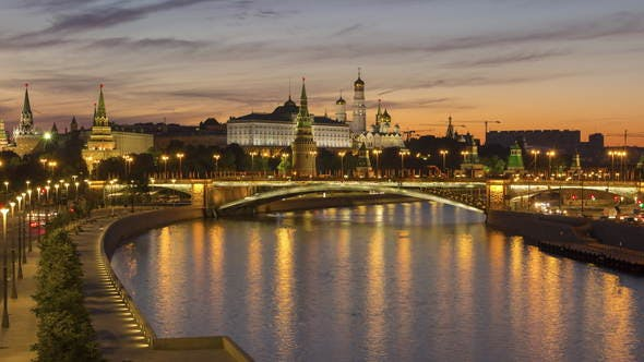 Thumbnail for Moscow Kremlin and Moscow River in Summer Sunny Morning. Russia