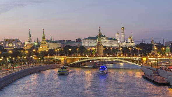 Thumbnail for Moscow Kremlin and Moscow River in Summer Sunny Evening. Russia
