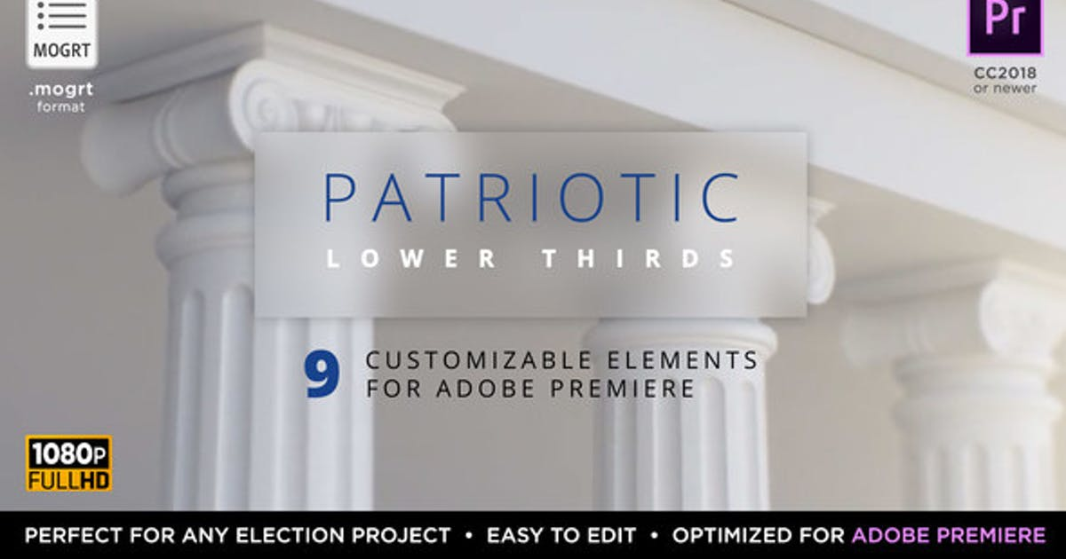 Download Patriotic Titles & Lower 3rds | MOGRT for Premiere by MotionRevolver