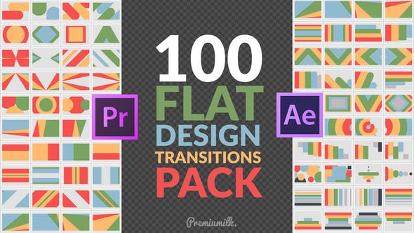 Thumbnail for Flat Design Transitions Pack | Mogrt