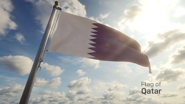 Thumbnail for Qatar Flag on a Flagpole