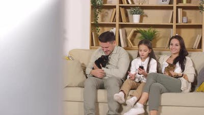 Happy Family Watching TV and Petting Cats on Sofa at Home