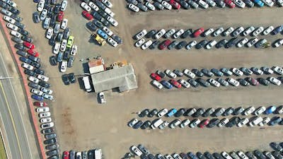 Panorama view in many a used cars terminal car parking auction lot