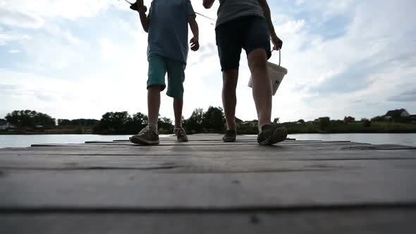Thumbnail for Family Going Fishing on the Lake in Summer