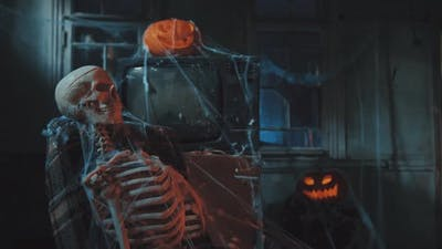 abandoned human skeleton horror scene