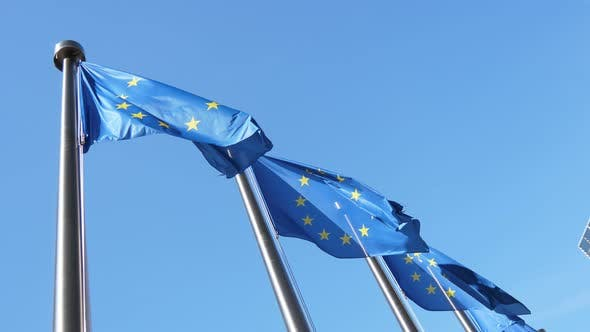 Thumbnail for Four EU Flags Fluttering Proudly in a Celeste Sky in Belgium in Spring in Slo-mo