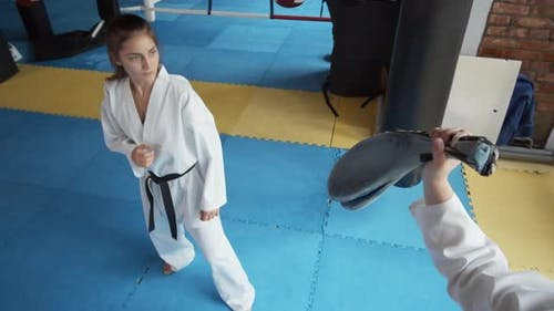 Female Martial Arts Fighter on Training