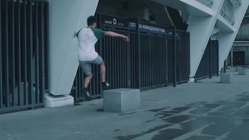 Guy Is Engaged in Parkour