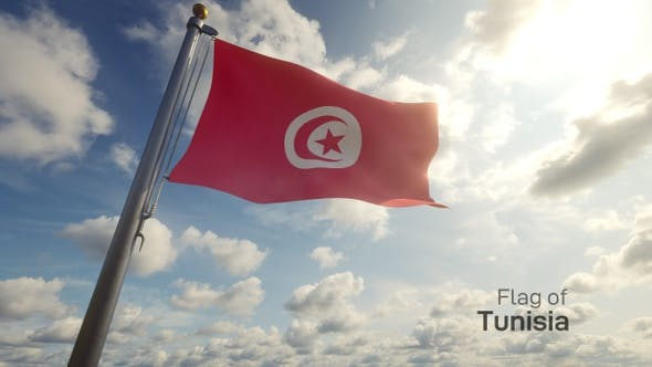 Tunisia Flag on a Flagpole