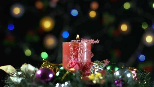 Thumbnail for Christmas Decoration And Red Candle Light