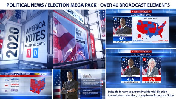 Thumbnail for Broadcast - Political News / Election Mega Pack