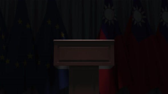 Row of Flags of Taiwan and the European Union