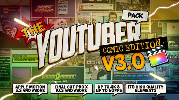 Thumbnail for The YouTuber Pack - Comic Edition V3.0 - Final Cut Pro X & Apple Motion
