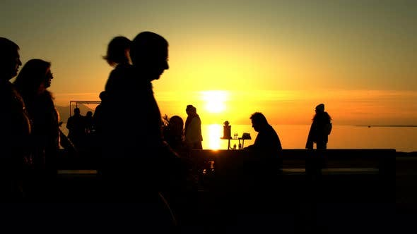 Thumbnail for People Silhouette And Sunset And Sea 7