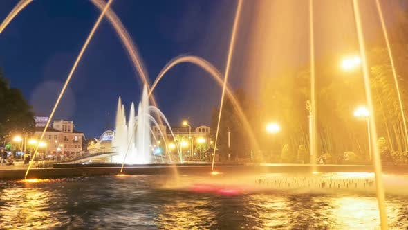 Timelapse of Singing Fountains on the Batumi Embankment at Night