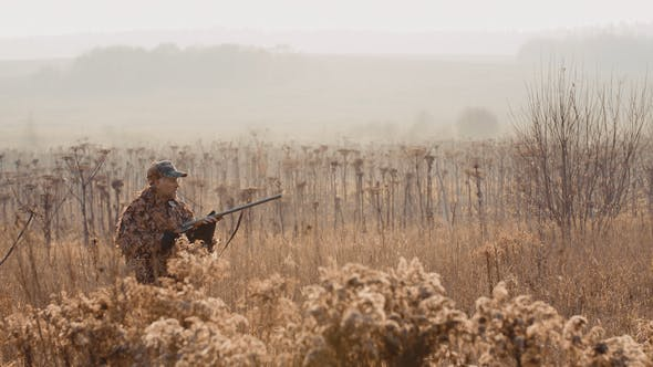Thumbnail for Hunter With a Rifle in His Hand Sneaks Through the Bush in the Field