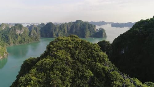 Push out view of Halong Bay in Vietnam