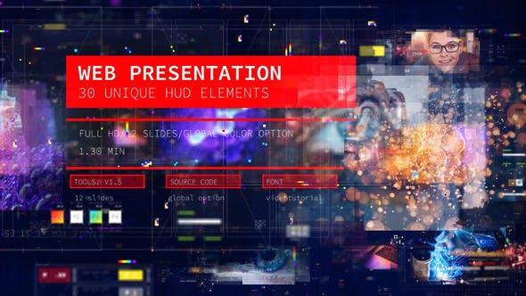 Web Presentation/ HUD Modern Slideshow/ 3D Sci-Fi Glitch Intro/ Digital Parallax/ Hightech Interface