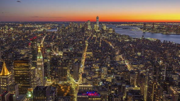Thumbnail for Cityscape of Manhattan, New York at Sunset. United States of America. Aerial View