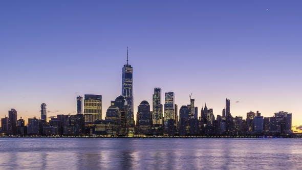 Thumbnail for Cityscape of Lower Manhattan New York at Sunrise