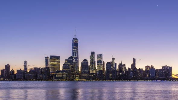 Cityscape of Lower Manhattan, New York at Sunrise. United States of America