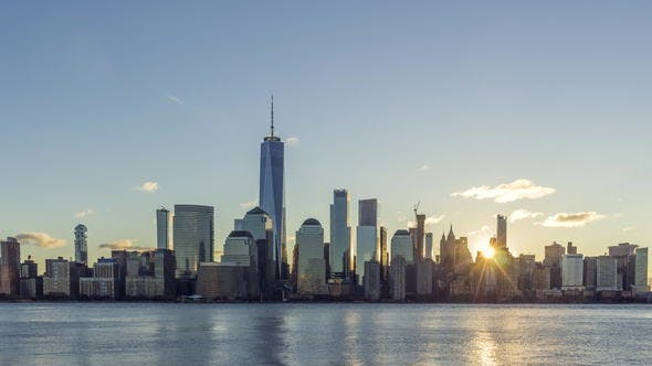 Thumbnail for Cityscape of Lower Manhattan New York in the Sunny Morning