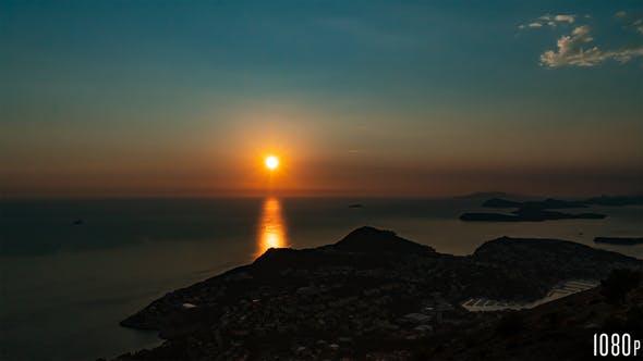 Panoramic Island Sunset Timelapse on the Ocean