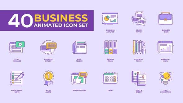 40 Animated Business Icon Set