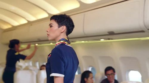 Cabin Crew Provide Service to Passenger in Airplane