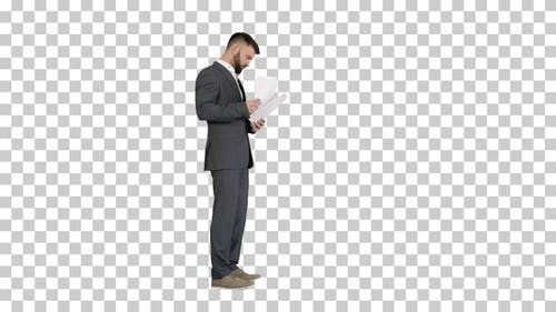 Businessman standing and reading docs seriously, Alpha Channel