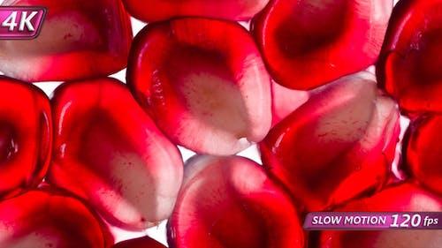 Juicy Berries Of Garnet Seeds Under Pressure